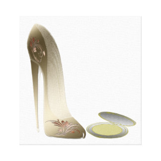 Gold Stiletto Shoe and Compact Art Canvas Print