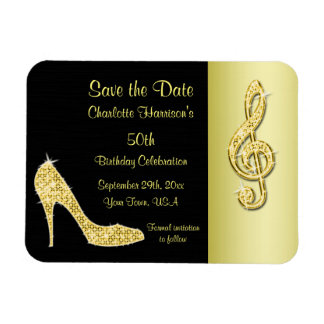 Gold Stiletto & Treble Cleft 50th Save The Date Rectangular Photo Magnet