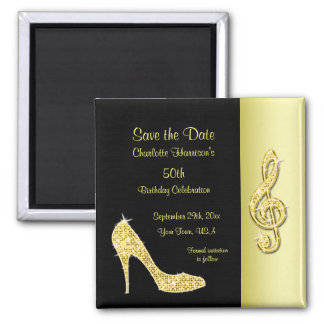 Gold Stiletto & Treble Cleft 50th Save The Date Square Magnet
