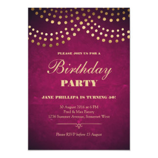 Gold String Lights 50th Birthday Party Card