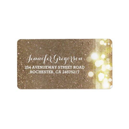 Gold String Lights Chic Wedding Label