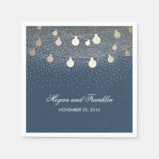 Gold String Lights Navy Wedding Paper Serviettes
