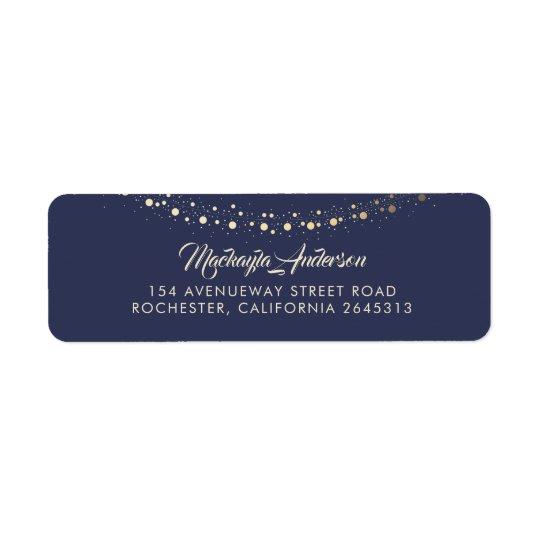 Gold String of Lights Navy Blue Return Address Label