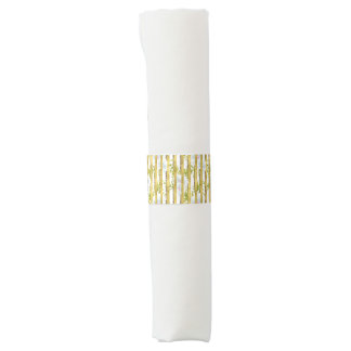 gold stripe white floral Wedding paper napkin band