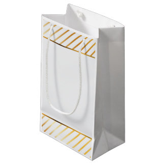 Gold Striped Border Small Gift Bag