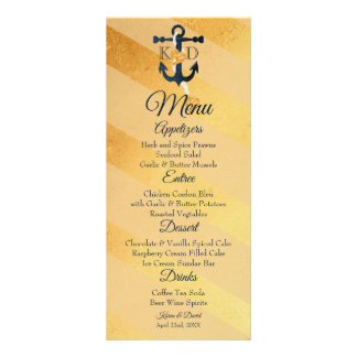 Gold striped foil anchor wedding menu