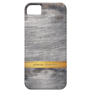 Gold Striped Grunge Steel Metal Custom Name Case For The iPhone 5