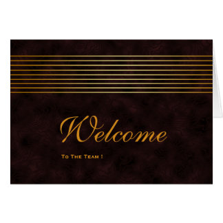 Gold Striped Sleek Wooden Welcome Card