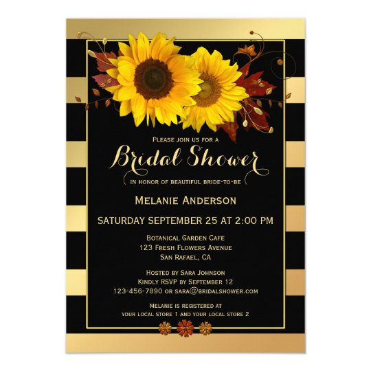 Gold Striped Sunflower Bridal Shower Invitation
