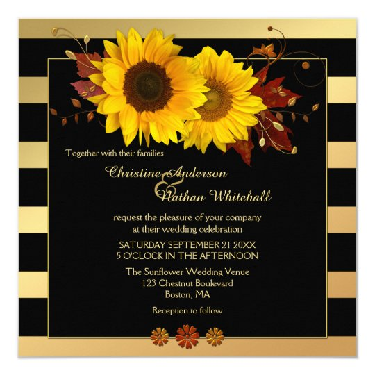 Gold Striped Sunflower Fall Wedding Invitation