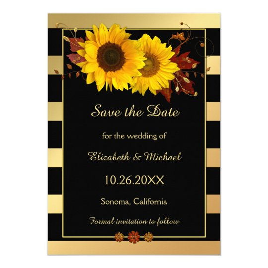 Gold Striped Sunflower Photo Save the Date Card