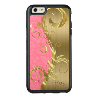 Gold Stripes And Pink Damask OtterBox iPhone 6/6s Plus Case