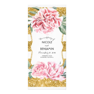 Gold Stripes and Pink Floral Wedding Programs Rack Card