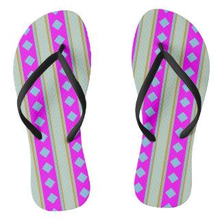 Gold Stripes Blue Diamond Adult Straps Flip flops
