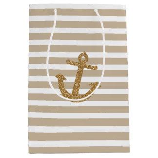 Gold Stripes Faux Glitter Anchor Medium Gift Bag