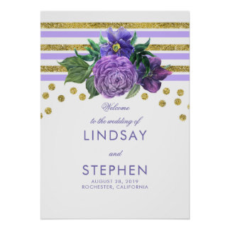 Gold Stripes Floral Lilac Purple Wedding Welcome Poster