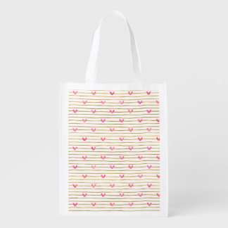 Gold Stripes Pink Watercolor Hearts Reusable Grocery Bag
