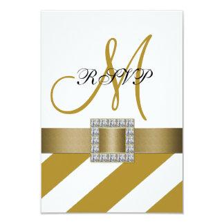 Gold Stripes, Ribbon, Initial Wedding RSVP 9 Cm X 13 Cm Invitation Card