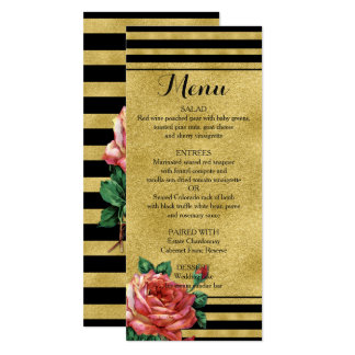 Gold Stripes Rose Flower Vintage Menu JoSunshine Card