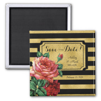 Gold Stripes Rose Flower Vintage Save the Date Square Magnet