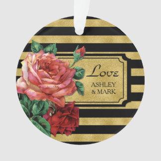 Gold Stripes Rose Flower Wedding Ornament