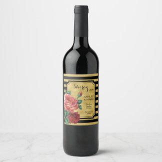 Gold Stripes Rose Flower Wine Label JoSunshine