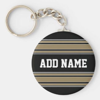 Gold Stripes Sports Jersey Name - CAN EDIT COLOR Key Ring