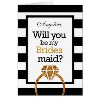 Gold Stripes Will You Be My Bridesmaid Invitation