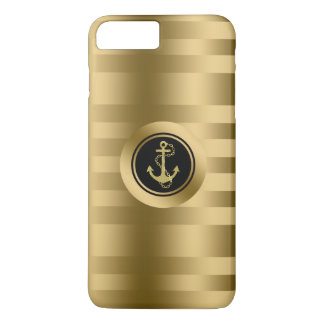 Gold Stripes With Nautical Anchor iPhone 8 Plus/7 Plus Case