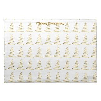 Gold Stylized Christmas Tree Place Mat