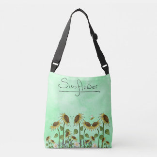 Gold Summer Sunflower Illustration on Mint Green Crossbody Bag