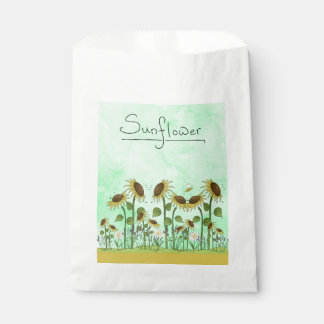 Gold Summer Sunflower Illustration on Mint Green Favour Bags
