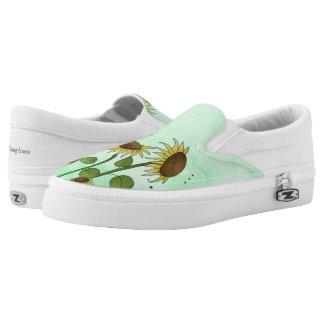 Gold Summer Sunflower Illustration on Mint Green Slip-On Shoes