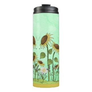 Gold Summer Sunflower Illustration on Mint Green Thermal Tumbler