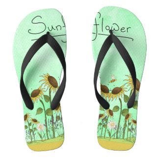 Gold Summer Sunflower Illustration on Mint Green Thongs