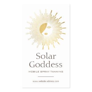 Gold Sun Goddess Girl Spray Tanning Salon Logo I Pack Of Standard Business Cards