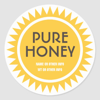 Gold Sun Round Honey Jar Label