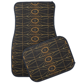 Gold Sunburst Abstract Orange Color Illustration Floor Mat