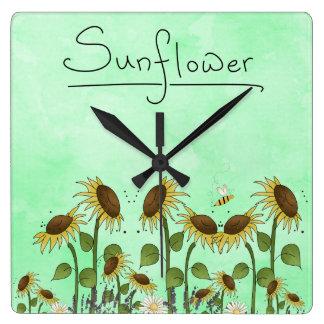 Gold Sunflower Yellow Country Prims Summer Autumn Clock