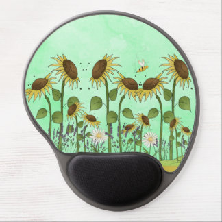 Gold Sunflower Yellow Country Prims Summer Autumn Gel Mouse Pad