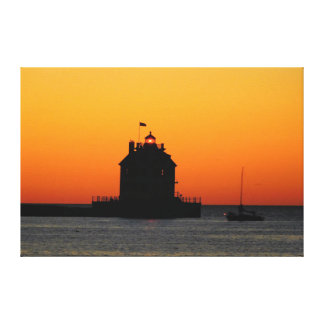 Gold Sunset Lighthouse Canvas Print