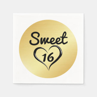 Gold Sweet 16 Paper Napkin with Heart