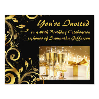 Gold Swirl 40th Birthday Card
