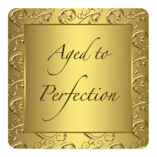 Gold Swirl Aged to Perfection Birthday Party 13 Cm X 13 Cm Square Invitation Card