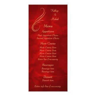Gold Swirl Bright Red Wedding Menu