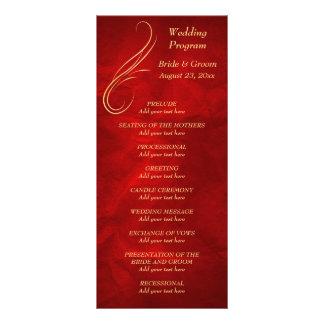 Gold Swirl Bright Red Wedding Program Rack Card