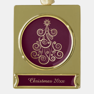 Gold Swirl Holiday Tree Gold Plated Banner Ornament