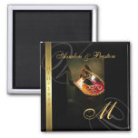 Gold Swirl Masquerade Mask Save The Date Magnet