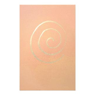 Gold Swirl On Orange Golden Spiral Modern Art Customized Stationery