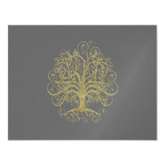 Gold Swirl Tree on Grey Wedding  Response Card #4